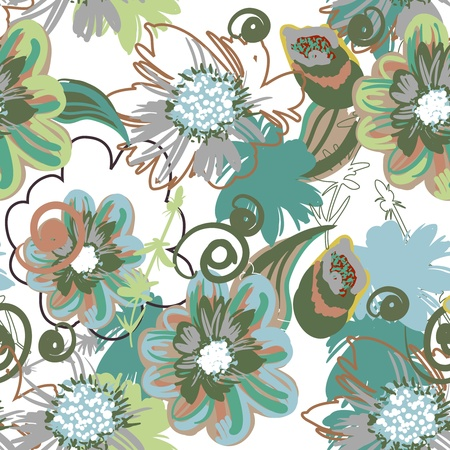 Seamless pattern with drawing flowers Illustration