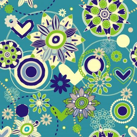 Naadloos patroon met bloemen tekenen Vector Illustratie