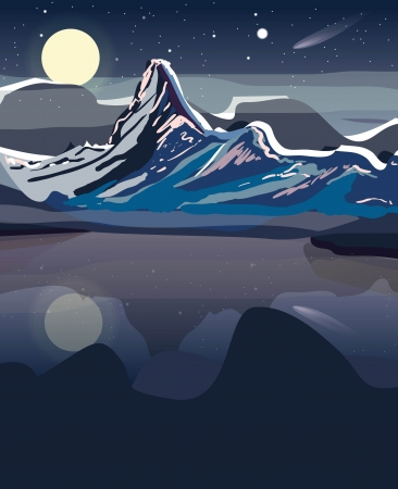 Drawing landscape with mountains Vector