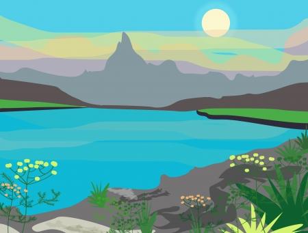 leque: Desenho paisagem com montanhas