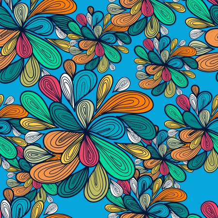 Abstract seamless  pattern with bright drawing multicolor drops Illustration