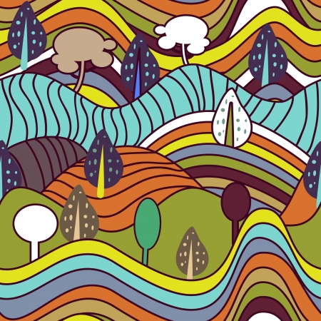 Seamless  background with drawing striped landscape Vector
