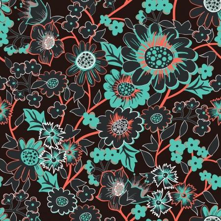 papel tapiz turquesa: Fondo inconsútil con el dibujo de las flores del jardín Vectores