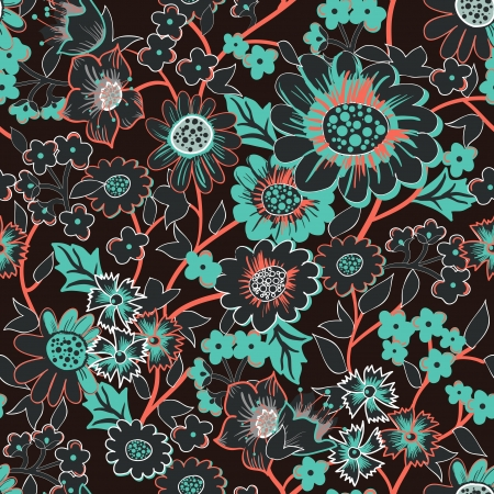 indian summer: Seamless  background with drawing garden flowers