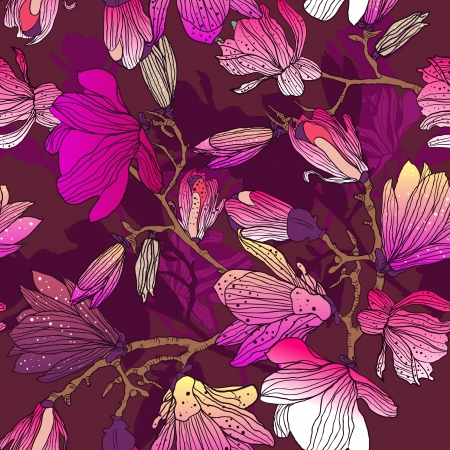 Seamless  background with drawing multicolor flowers