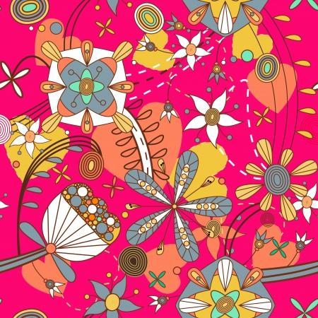 canvas print: Patr�n sin fisuras con flores de dibujo Vectores