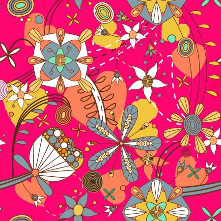 Seamless pattern with drawing flowers Stock Vector - 14832963