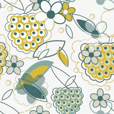 blue berry: Abstract  seamless texture with drawing flowers and berries Illustration