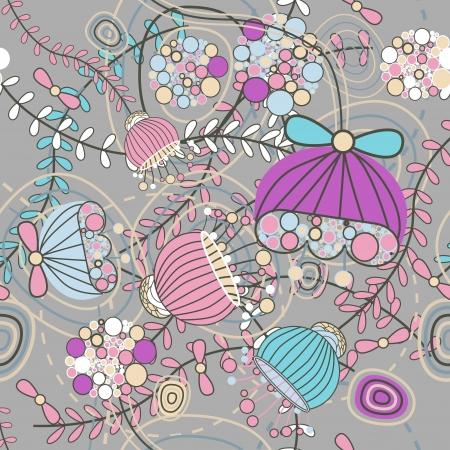 Patrón sin fisuras con flores de dibujo Ilustración de vector