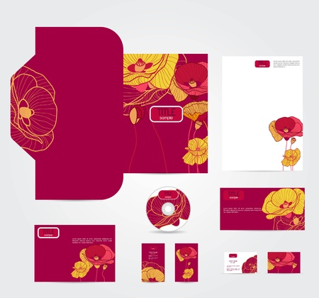 cd label: corporate style with multicolor flowers Illustration