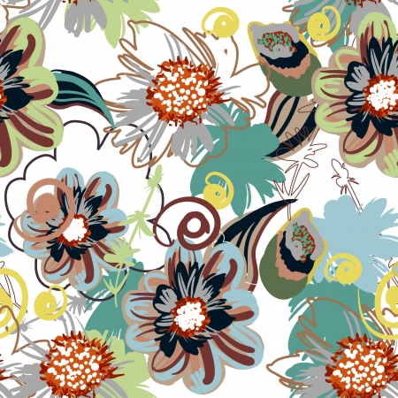 floral fabric: Seamless  pattern with drawing flowers