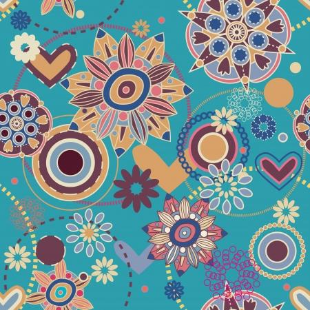 indian light: Patr�n sin fisuras con flores de dibujo Vectores
