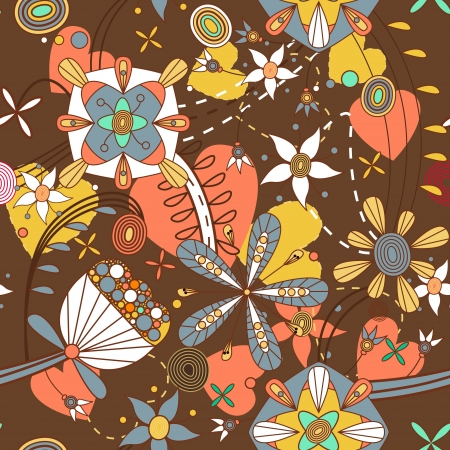 Seamless pattern with drawing flowers Stock Vector - 14949228