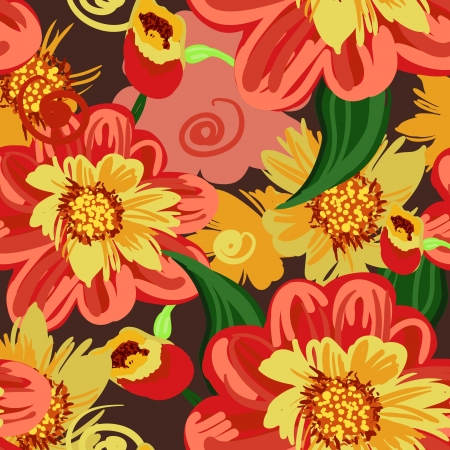 indian summer: Seamless pattern with drawing flowers Illustration