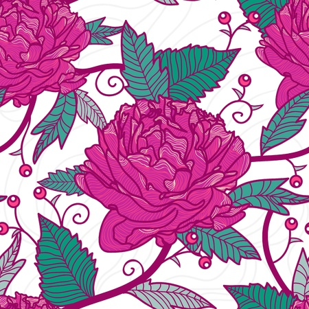 flore: Seamless retro texture with drawing flowers