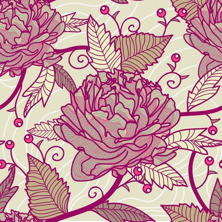 Seamless retro texture with drawing flowers Vector