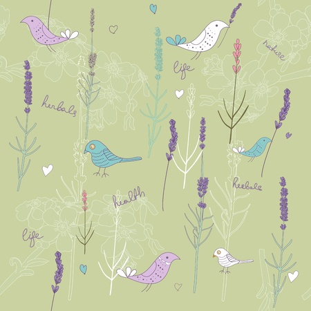 lavender flower: Seamless texture with plants and birds