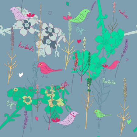 Seamless texture with plants and birds Vector