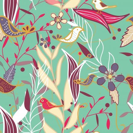 papel tapiz turquesa: Textura transparente con plantas y p�jaros Vectores