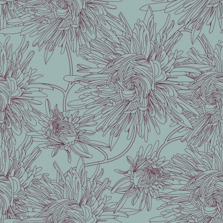 aster: Seamless vector texture with drawing aster flowers