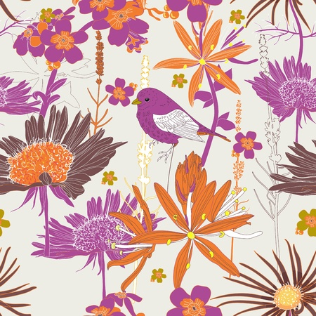 Seamless vector texture with plants and birds Vector