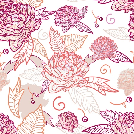 Seamless vector floral texture with bright drawing flowers Vector