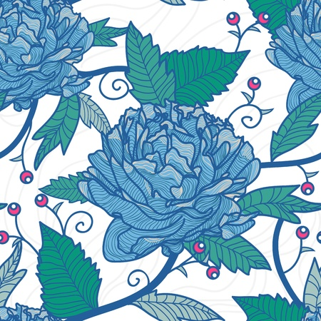 flore: Seamless vector retro texture with drawing flowers Illustration