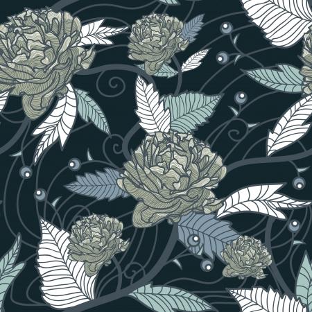 Seamless retro tekstury z kwiatów rysunkowych Ilustracje wektorowe
