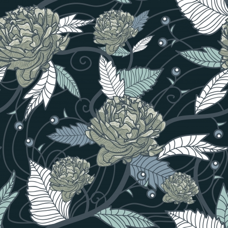 Seamless vector retro texture with drawing flowers Иллюстрация