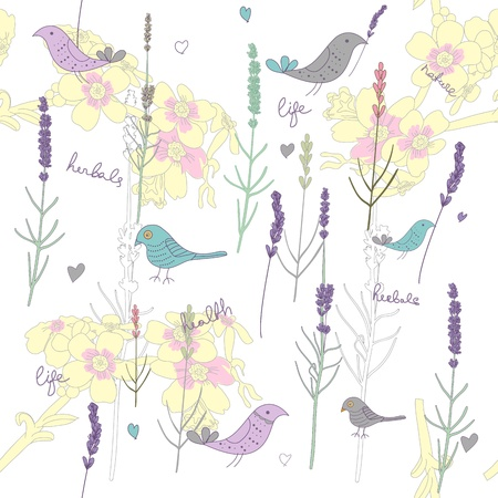 lavender flower: Seamless vector texture with plants and birds