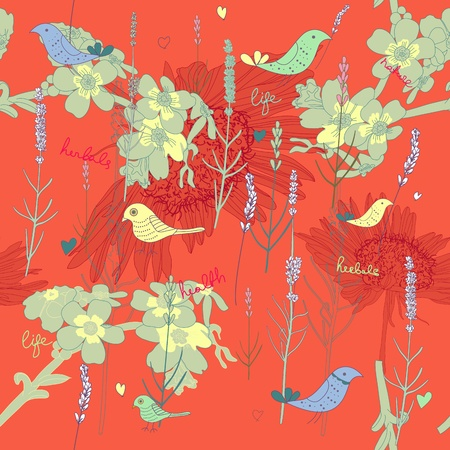 Seamless vector texture with plants and birds Stock Vector - 15646087