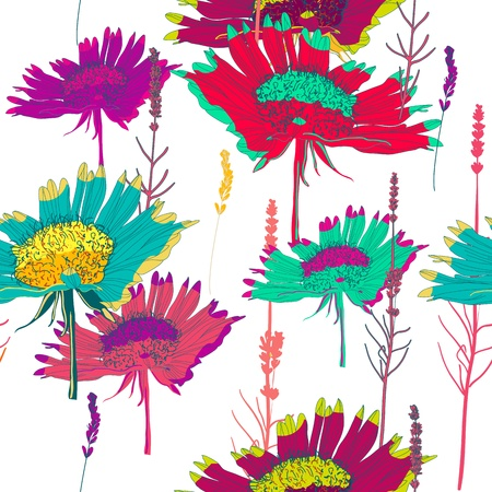 Seamless vector texture with bright flowers Vector