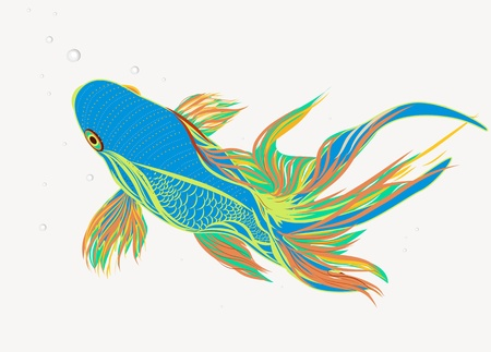 blue fish: Bright vector illustration with koi fish Illustration