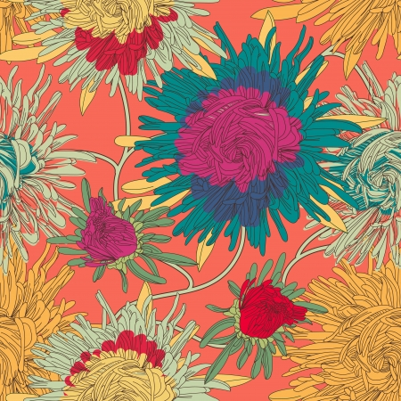 Seamless  texture with bright flowers