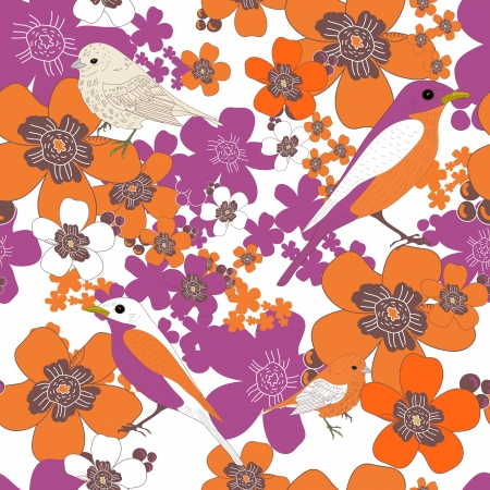 Seamless  texture with birds and flowers Stock Vector - 16416768