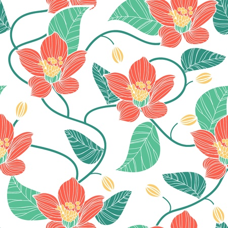 canvas print: Seamless texture with drawing flowers Illustration