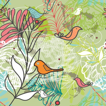 Seamless  texture with birds and plants Vector