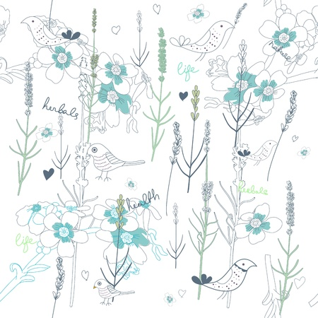 flores vintage: Seamless  texture with plants and birds