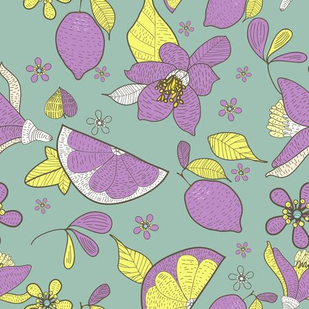 Seamless  texture with drawing flowers and lemons Stock Vector - 16416632