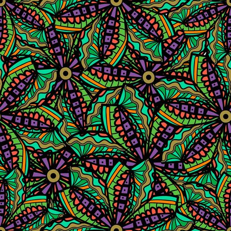 tilling: Seamless  texture with tribal flowers