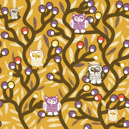 Seamless texture with drawing trees and owls Vector