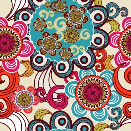 disegno cachemire: Seamless indiano texture con motivo tribale