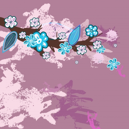 background with sakura branch Vector