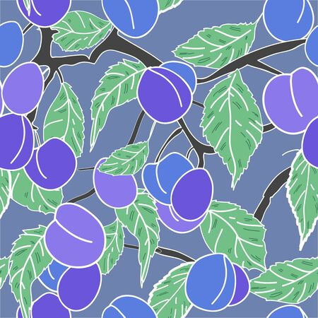 Seamless texture with fruits and leafs Stock Vector - 16415672