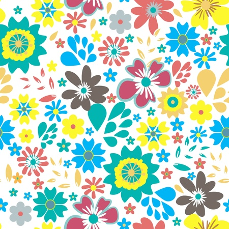 Seamless texture with small bright flowers Vector
