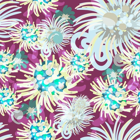 Seamless  texture with bright flowers Vector
