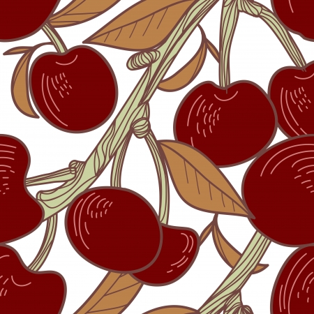 Seamless texture with cherries branch Vector