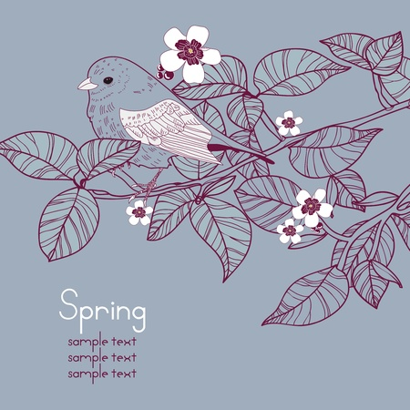 Vector background with floral branch and bird Vector