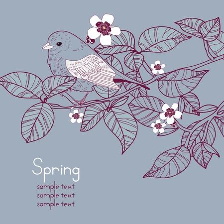 papel tapiz turquesa: Vector de fondo con ramo de flores y pájaros