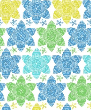 Seamless vector texture with drawing tribal flowers Vector